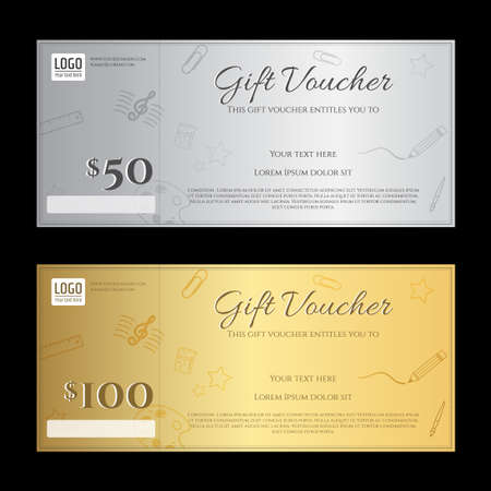 Elegant Gift Voucher Or Gift Card Certificate Template In Gold