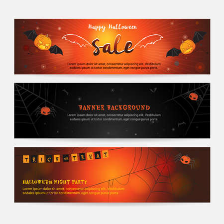 spider web: Set of happy Halloween banner background for event sales with evil wings, spider web, pumpkin spider and bats