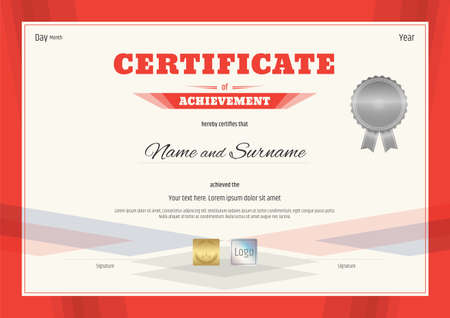 Certificate of appreciation template in black and gold with movie certificate of achievement template in modern theme with red border vector yadclub Images