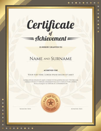 awarded: Portrait certificate of achievement template with gold border and awarded wreath and star background Illustration