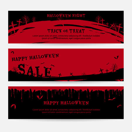 flying bats: Set of happy Halloween banners background in spooky red graveyard theme with flying bats