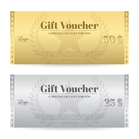 complimentary: Elegance gift voucher or gift card in gold and silver color with movie film theme Illustration