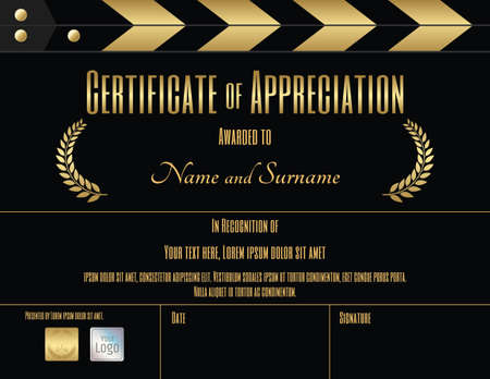 Certificate of appreciation template in black and gold with movie and slate film theme Vectores