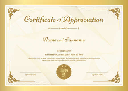 Certificate of appreciation template with vintage gold border certificate of appreciation template with vintage gold border vector yadclub Image collections