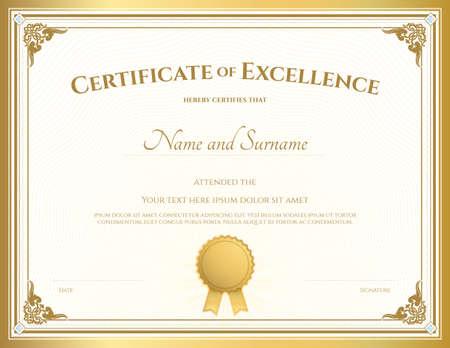 Certificat de modèle d'appréciation avec bordure d'or millésime Vecteurs