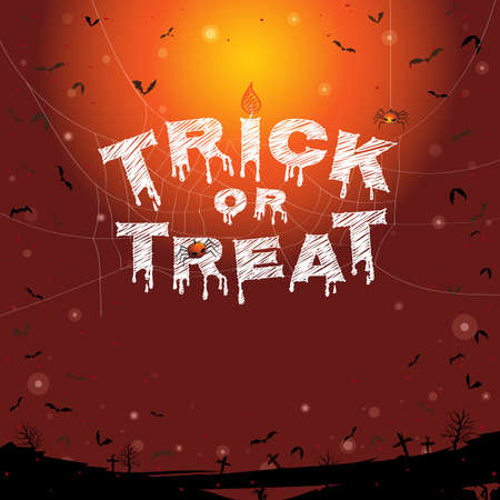 flying bats: Happy Halloween, trick or treat banner background with flying bats and graveyard