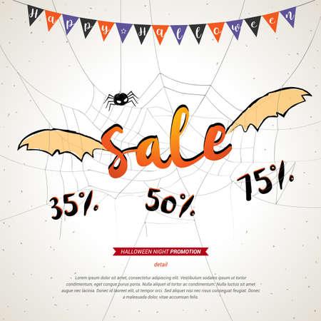 frightful: Halloween sale banner grunge background, flying sale bat wings on spider web