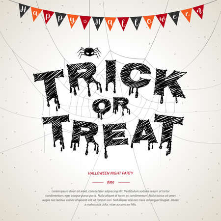 frightful: Happy Halloween, trick or treat poster background in white grunge