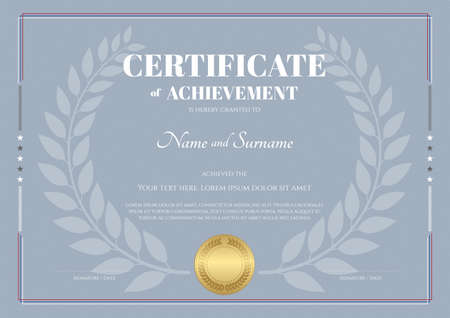 backgroud: Certificate of achievement template with laurel wreath and grey backgroud
