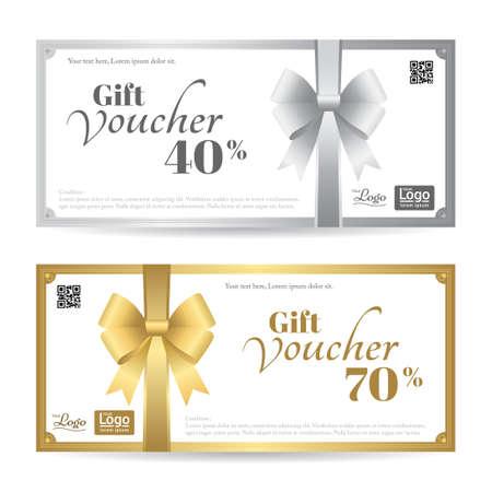 elegante tarjeta de regalo o una plantilla vale de regalo con brillantes arcos y las cintas de oro y plata