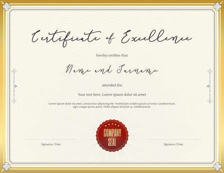 completion: Certificate template for achievement, appreciation, completion, excellence or particiation Illustration