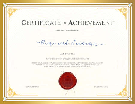 participation: Certificate template for achievement, appreciation, completion or participation with applied Thai frame and red wax seal Illustration