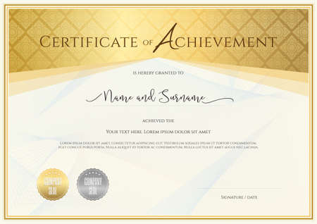 Certificate template for achievement, appreciation, completion or participation with applied Thai art line Illustration