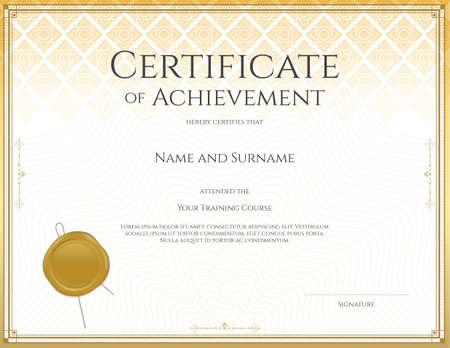 participation: Certificate template for achievement, appreciation, participation or completion in applied Thai art line theme Illustration