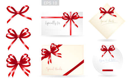 tied: Set of ribbon tied bows format for gift card, greeting card or thank you card