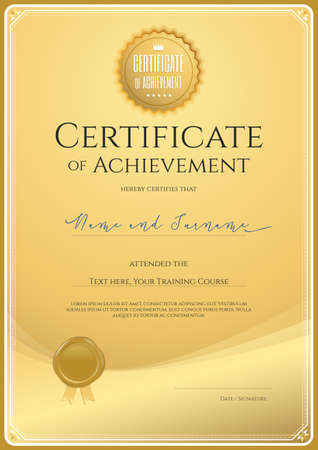 completion: Certificate template for achievement, appreciation or completion in gold theme with wax seal and swirl background Illustration