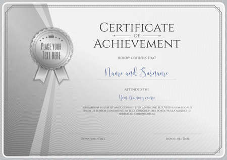 completion: Certificate template for achievement, appreciation or completion in silver theme with swirl background