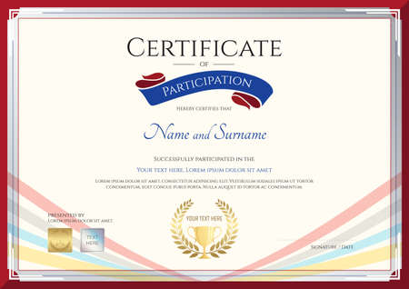 Certificate template for achievement, appreciation or participation in colorful award ribbon theme with swirl background