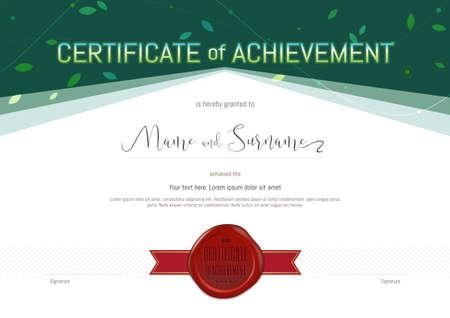 Zertifikat Der Leistung Vorlage In Umwelt-Thema Mit Grünem Wachs ...