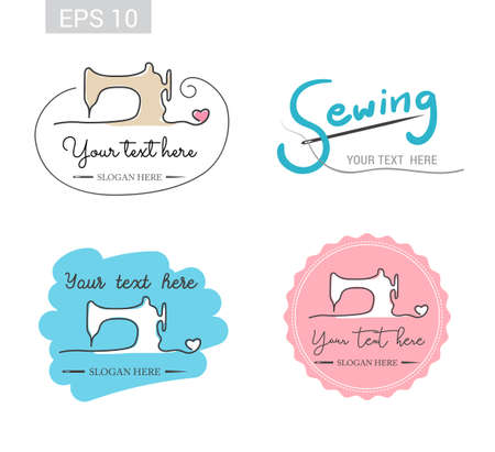 Set of retro garment sewing machine identity badge sticker label for tailor made shop Ilustrace