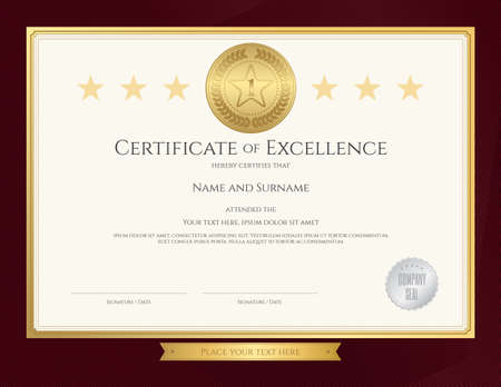 completion: Elegant certificate template for excellence, achievement, appreciation or completion on red border background