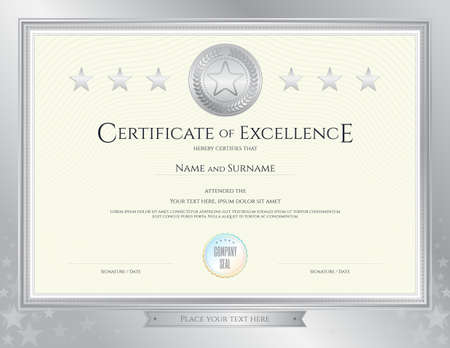 completion: Elegant certificate template for excellence, achievement, appreciation or completion on silver border background
