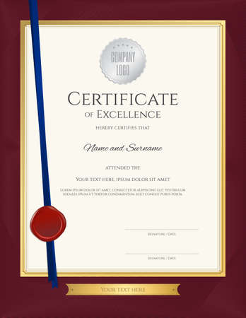 Elegant portrait certificate template for excellence, achievement, appreciation or completion on red border background