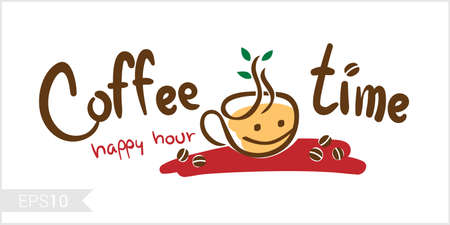 Coffee time, happy hour illustration for badge, label, identity or wall decoration