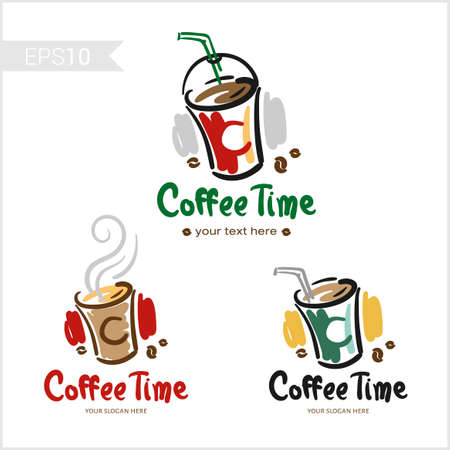 Set of retro coffee badge label logo design in various cup shape Illustration