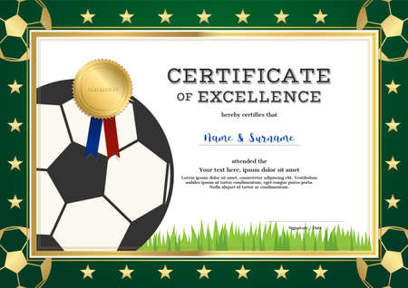 Certificate of excellence template in sport theme for football match with green border Vectores