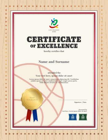Portrait Zertifikat Der Exzellenz Vorlage Im Sport-Thema Für ...