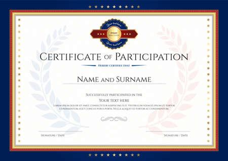 Certificate of participation template with laurel background and blue border Ilustração