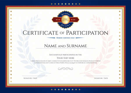Certificate of participation template with laurel background and blue border Illustration