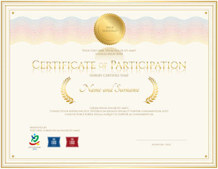 88 Certificate Of Participation Vector Illustration And – Free Certificate of Participation Template