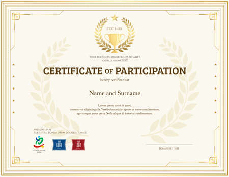 Certificate of participation template in gold theme with trophy and laurel watermark