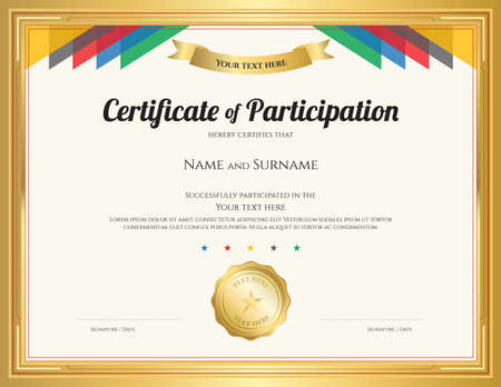 Certificate of participation template with gold border and colorful stripe Illustration