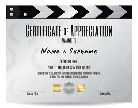 Certificate of appreciation with movie film slate in silver tone theme Иллюстрация