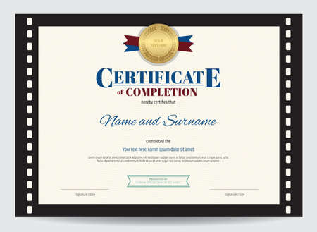 completion: Certificate of completion template with movie film border Illustration
