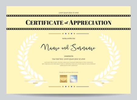 Certificate Of Appreciation Template With Movie Film Stripe Header