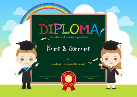 Colorful kids diploma certificate template in cartoon style with sky rainbow and graduated boy and girl