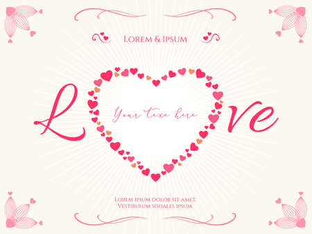 valentine card: Valentine card or poster with heart shape and copy space