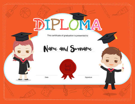 Colorful kids summer camp diploma certificate template in cartoon colorful kids diploma certificate template in cartoon style with boy and girl wearing academic dress and yelopaper Image collections