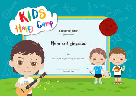 Colorful kids summer camp diploma certificate template in cartoon style with various children activities music, painting and sport Illustration