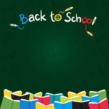 Colorful back to school green chalk board or blackboard banner