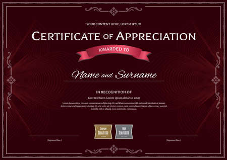Certificate of appreciation template with award ribbon on dark red abstract guilloche background Illustration