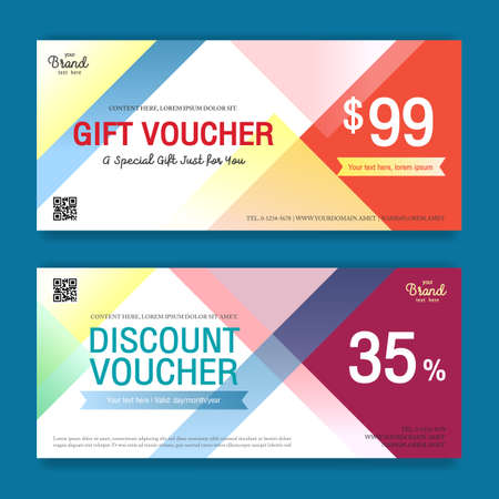complimentary: Colorful and modern discount voucher or gift voucher for promo event