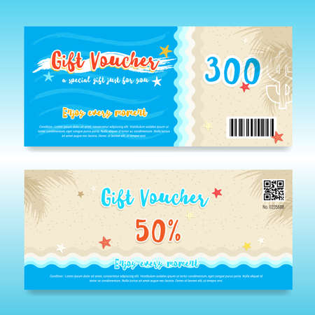 Gift voucher or gift card in summer theme with beach and sea for summer promo event