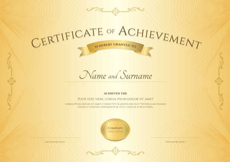 abstact: Elegant certificate of achievement template on abstact guilloche background with vintage border style