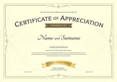 Certificaat van appreciatiemalplaatje met toekenningslint op abstracte guilloche achtergrond met uitstekende grensstijl