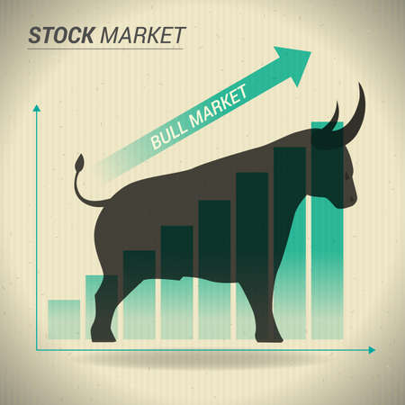 Bull market concept presents stock market with bull in front of green uptrend graph on brown paper.
